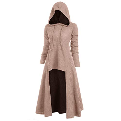 RAINED-Women Hoodie Knit Maix Dress,Autumn Loose Knit Long Dress Pullover Hooded Tunic Swing Dress Cloak Outwear Pink