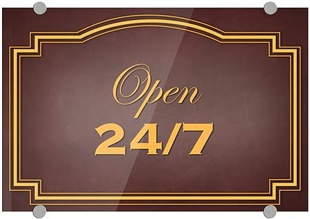 5-Pack Classic Brown Premium Acrylic Sign 27x18 Open 24//7 CGSignLab