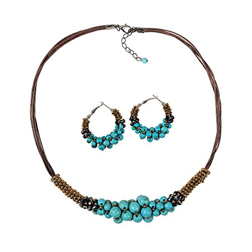 Zonman Handmade Jewelry Set Pretty Tibetan Style Turquoise Necklace with Match Earrings … (Necklace +earrings)
