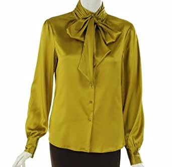 Sutton Studio Removable Neck Tie Blouse Golden Olive 10 [Apparel]