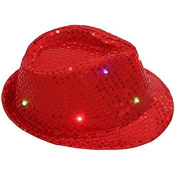 f2a1abff55087 BESTOYARD Fedora Hat Jazz Hat Cap Dance Hat Glitter Sequins Flashing LED Hat  For Party Hat