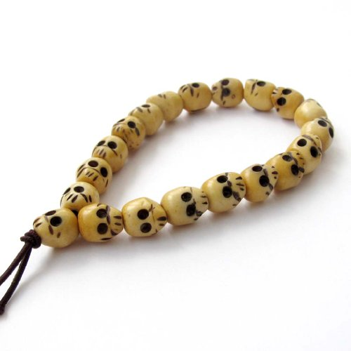 OVALBUY Ox Bone Buddhist Carved Skull Beads Mala Bracelet for Meditation ()