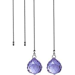 Crystal Ceiling Fan Pull Chains Pack of 2 40mm Purple Crystal Prism With 2 Free Pull Chain Extension Adjustable Length