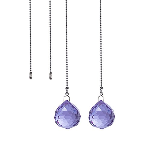 Crystal Ceiling Fan Pull Chains Pack of 2 40mm Purple Crystal Prism With 2 Free Pull Chain Extension Adjustable Length ()