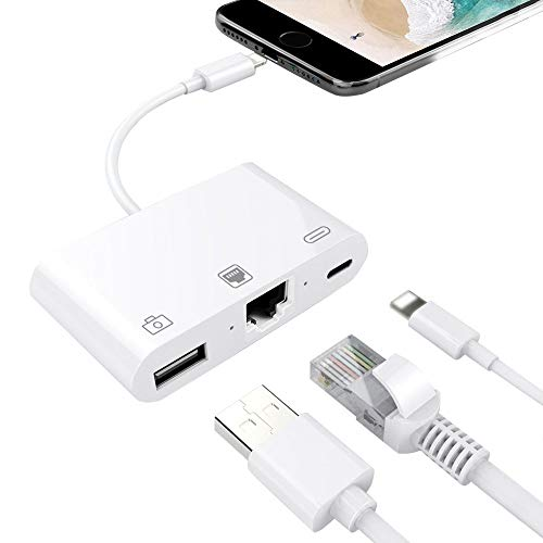 3 in 1 Phone to 100Mbps RJ45 Ethernet LAN Wired Network Adapter, Phone to USB Camera Adapter, Charging & Data Sync OTG Adapter Compatible for iPhone/iPad