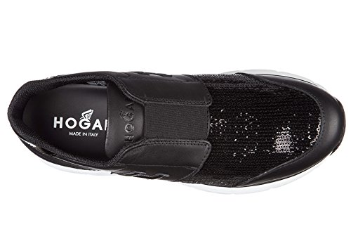 Hogan slip on femme en cuir sneakers h254 traditional noir