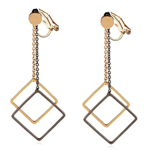 Clip on Earring Back with Pad Two-tone Square Dangle for Girl Kid no Piercing Gold-tone Fashion Jewelry