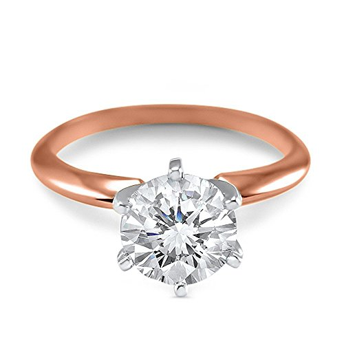 1 Carat 6.5mm round Forever ONE moissanite solitaire engagement ring 14k rose gold 6 prong by Eternal Jewelry