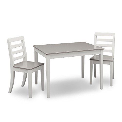 Delta Children Table and Chairs, 3-Piece Set (White and Grey) by Delta Children (Image #1)'