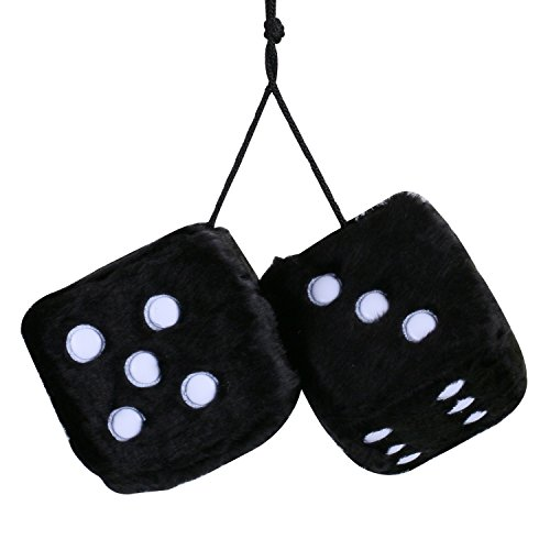 (Car Fuzzy Dice,3 inch Pair of Retro Square Mirror Hanging Dice, Couple Fuzzy Plush Dice with Dots for Car Interior Ornament Decoration)