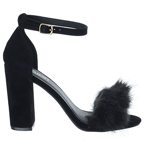 Massif Fourrure en Femmes UK Chaussures de Femmes Fourrure Faux Miss Bout pour Sandales Fausse Daim Image Talon Fausse Ouvert Haut Duveteux Neuf Noire Taille wxHHIqv