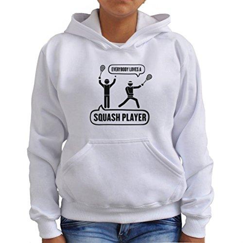 Sudadera con Capucha de Mujer Everybody loves a squash player squash Blanco