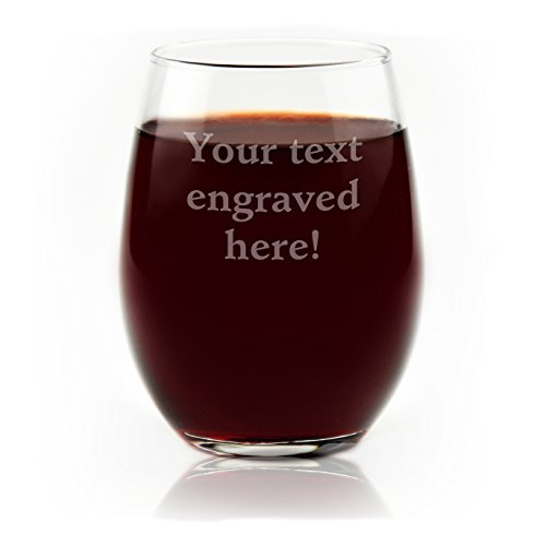 Personalized Stemless Wine Glass Engraved with Your Custom Text -