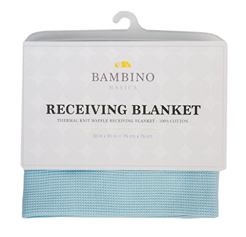 Bambino Basics 100% COTTON - Waffle Knit Thermal Receiving Blankets - 30 x 30 - In 5 Colors: Baby Blue, Pink, White, Grey, and Navy Blue - Perfect Gift for Baby Shower or any Expecting Mother