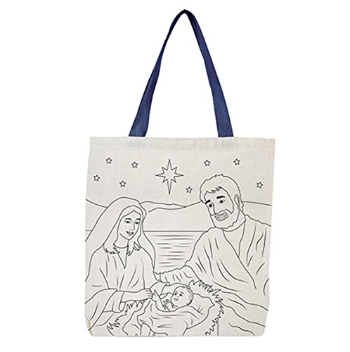 Silent Night, Holy Night Nativity Scene Color Your Own Canvas Tote Bag, 10 - Christian Bag Tote Religious