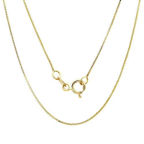 18K Solid Gold 0.5mm Diamond- Cut Italian Box Chain Necklace- Yellow White or Rose (Yellow, 20)