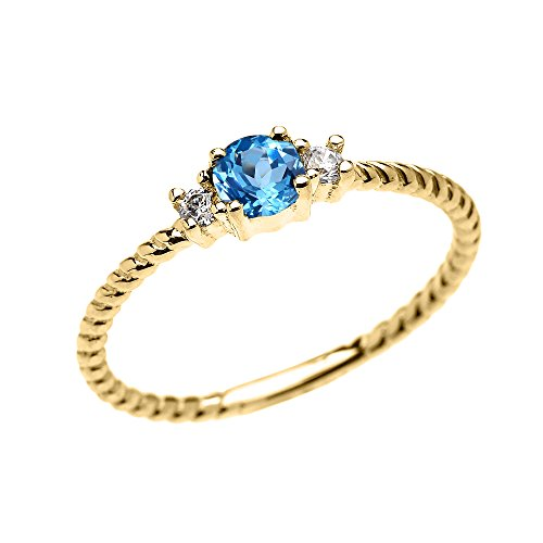 (10k Yellow Gold Dainty Solitaire Blue Topaz and White Topaz Rope Design Stackable/Proposal Ring(Size 7))
