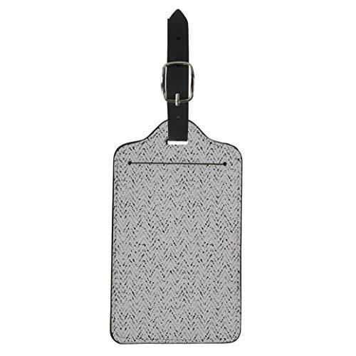 Pinbeam Luggage Tag Chevron Tweed Pattern in Grey Abstract Black Brushed Suitcase Baggage Label ()