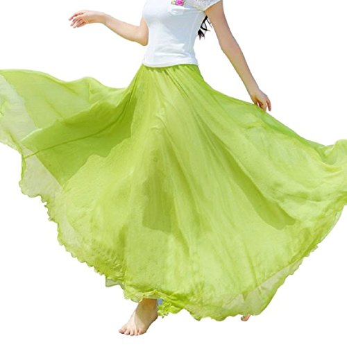 De Soie Plage Malloom Clair De Maxi Taille Long lastique Vert Robe en Femmes Mousseline Jupe WaqzR