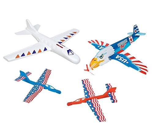 Flying Aircraft Toys (Fun Flying Glider Aircraft Toy Planes Kit Bundle, 4 Styrofoam/ Foam Glider Airplane Set Includes Extra Large, Large and Small Toy Glider Plane)