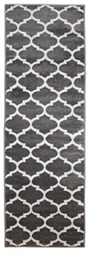 Trellisville Collection Modern Geometric Lattice Trellis Design Vibrant and Soft Runner Rug - 23 X7 - Grey