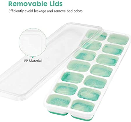 Sunerly Bandeja para cubitos de hielo, Lfgb certificado libre de BPA moldes con tapa antiderrames, mejor para congelador, comida de bebé, agua, whisky, cóctel y otras bebidas