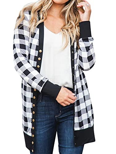 PLNCAYFZ Women Casual Plaid Cardigan Checkered Long Sleeve Pockets Open Front Tops Black