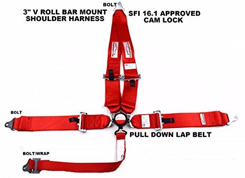 Black Race CAR Harness 5 Point SFI 16.1 Racing CAM Lock 3 Floor Mount Bolt in