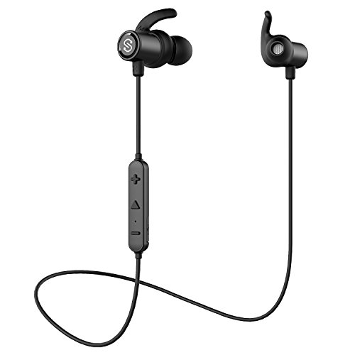 SoundPEATS Magnetic Wireless Earbuds Bluetooth Headphones Sport In-Ear Sweatproof Earphones with Mic (Super sound quality Bluetooth 4.1, aptx, 8 Hours Play Time, Secure Fit Design) Q30 - Black