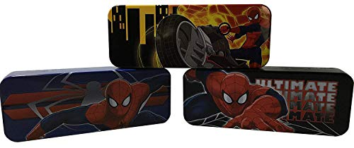 (Set of 3 - Spider-man Pen, Pencil, and Marker Cases - Tin - 8 Inch)