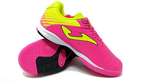 Joma Kids' Toledo Jr ID Indoor Soccer Shoes (8 Toddler, Neon Pink/Neon Yellow/Black) (Best Shoes For Toddler Soccer)