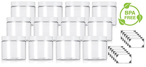 Clear Large 16 oz PET Plastic (BPA Free) Refillable Jar with White Lids - (12 pack) + -