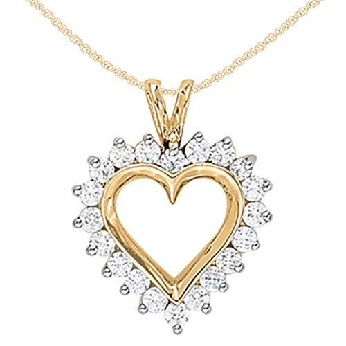 1Ct Ttw Diamond Heart Pendant In 14K Yellow Gold With 18'' Chain