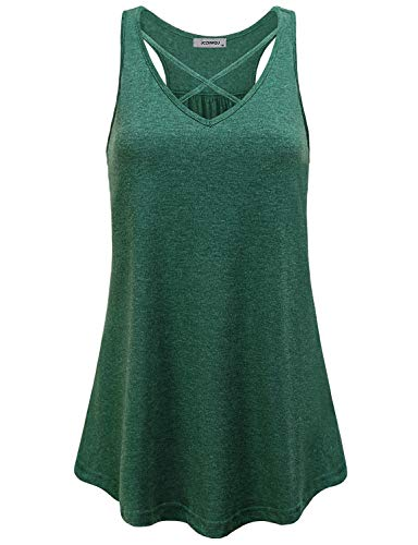 Flowy Tank Top, Womens Novelty Run Clothes Dressy Low Cut Criss Cross V Neck Racerback Dri Fit Shirts Cozy Stretchy Spandex Cotton Knitted Funny Tunic Tank Olive Green M