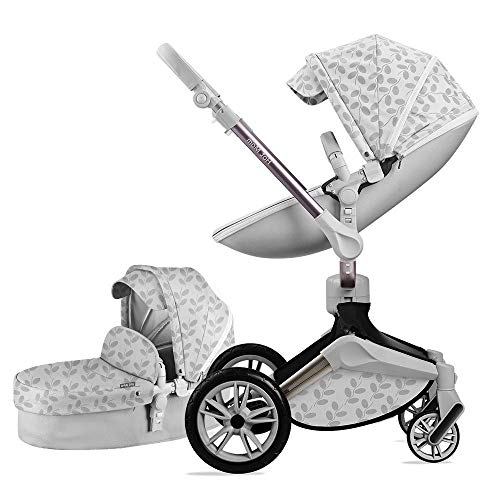 Best Review Of Baby Stroller 360 Rotation Function,Hot Mom Pushchair Pram,New Style 2020,Grey Leaves