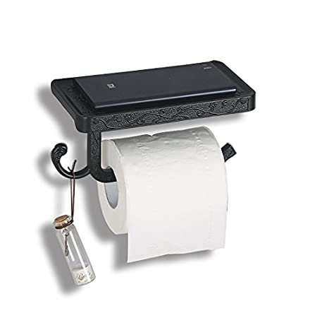 Black Recessed Toilet Paper Holder With Phone Shelf And Hook In