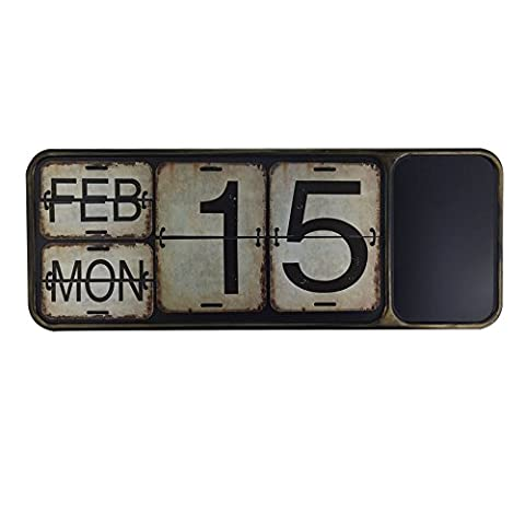 Archi Shabby Chic Metal Perpetual Flip Calendar with Blackboard Square Shape Distressed Finish Wall Hanging-Reproduction (011, (Cool Calenders 2015)
