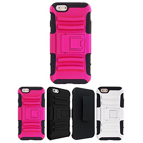 Price comparison product image iPhone 6s Case,  iPhone 6 Case,  HLCT Holster Combo Thick Heavy Duty iPhone 6 Case with Kickstand and Swivel Belt Clip for Apple iPhone 6 / iPhone 6s 4.7 inch (Hot Pink)