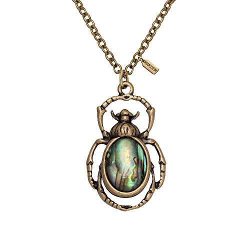 MANZHEN Antique Bronze Natural Abalone Shell Bug Wildlife Necklace Bug Earring Woodland Animal Jewelry Set (Bug Necklace)