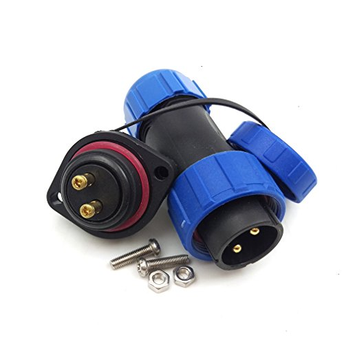 SP21 2pin Waterproof Crimp Connector, IP67 Outdoor Power Cable Plug Socket 30A 500V Panel Mount Electrical heavy plug (2 -