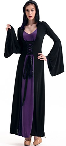 [COSWE Womens Hooded Robe Classic Witch Long Dress Costume(Color,Purple)] (Purple Hooded Robe Adult Costumes)