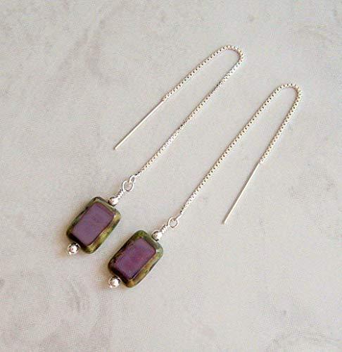 - Purple Rectangle Picasso Czech Glass Sterling Silver Ear Thread Earrings Gift Idea