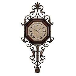 Deco 79 Wood Metal Wall Clock , 18 x 39