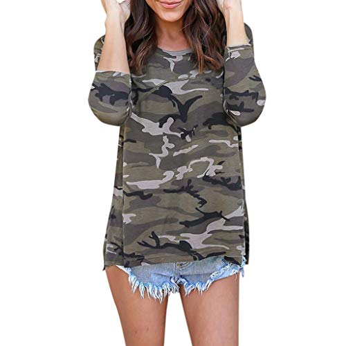 (Women Tops Gibobby Women Camouflage Print Long Sleeve Crew Neck Loose Fit Casual Sweatshirt Pullover Tops Shirts)