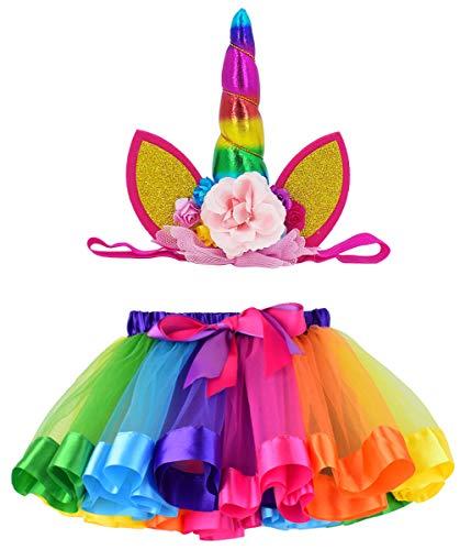 LYLKD Tulle Rainbow Tutu Skirt for Newborn Baby Girls 1st Birthday Photography Outfit Sets with Unicorn Headband. (Rainbow #1, S,0-24 Months)