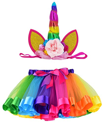 LYLKD Tulle Rainbow Tutu Skirt for Newborn Baby Girls 1st Birthday Photography Outfit Sets with Unicorn Headband. (Rainbow #1, S,0-24 Months)]()