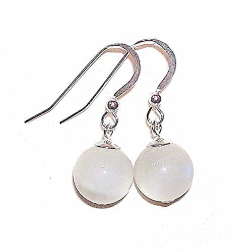 Sterling Silver & Gemstone Ball Drop Earrings - Indian Moonstone 11mm Cat Moonstone Earrings