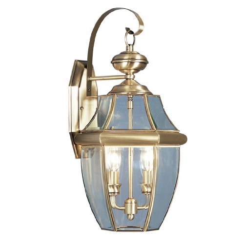 Livex Lighting 2251-01 Monterey 2 Light Outdoor Antique Brass Finish Solid Brass Wall Lantern  with Clear Beveled Glass by Livex Lighting