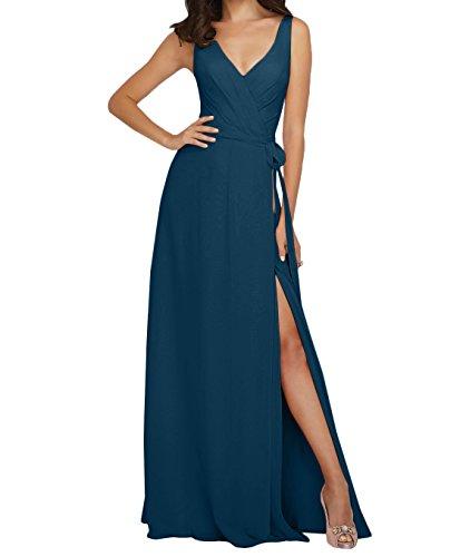 V Linie Blau Damen Ausschnitt Rock Lang Brautjungfernkleider Langes Abendkleider Charmant Tinte Chiffon Partykleider A t6waqgg