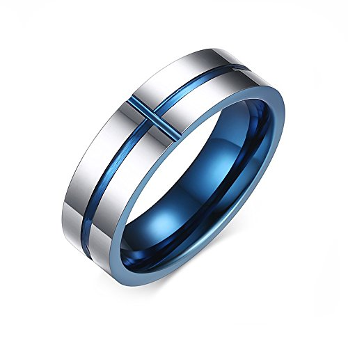 Free Engraving 6mm IP Blue Plated Tungsten Carbide Cross Anniversary Rings for Men Size 7-12 (9) (Cross Carbide Tungsten Plated)